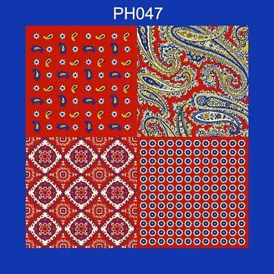 32cm Unisex Handkerchief Paisley Floral Plaids Prints Soft Thin Pocket Square 4