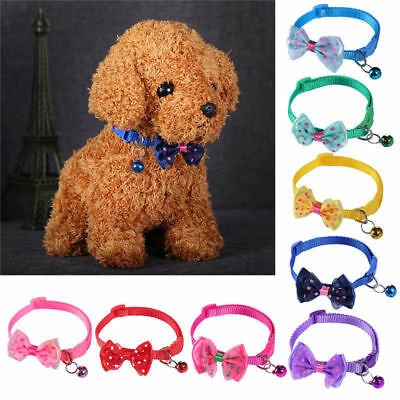 Pet Bowknot Necktie Collar Cute Bow Tie Bell Kitten Puppy Adjustable Dog Cat  BY 3