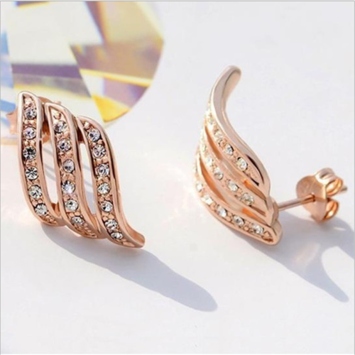 925Silver/Rose Gold Angel Wings White Sapphire-Studded Personality Stud Earrings 4