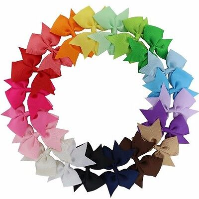 """20/40Pcs 3"""" Baby Girls Grosgrain Ribbon Boutique Hair Bows For Teens Toddlers"""