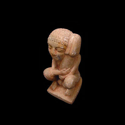 Egyptian painted limestone ithyphallic figure, Roman period, 1 BC - 1 AD a2728