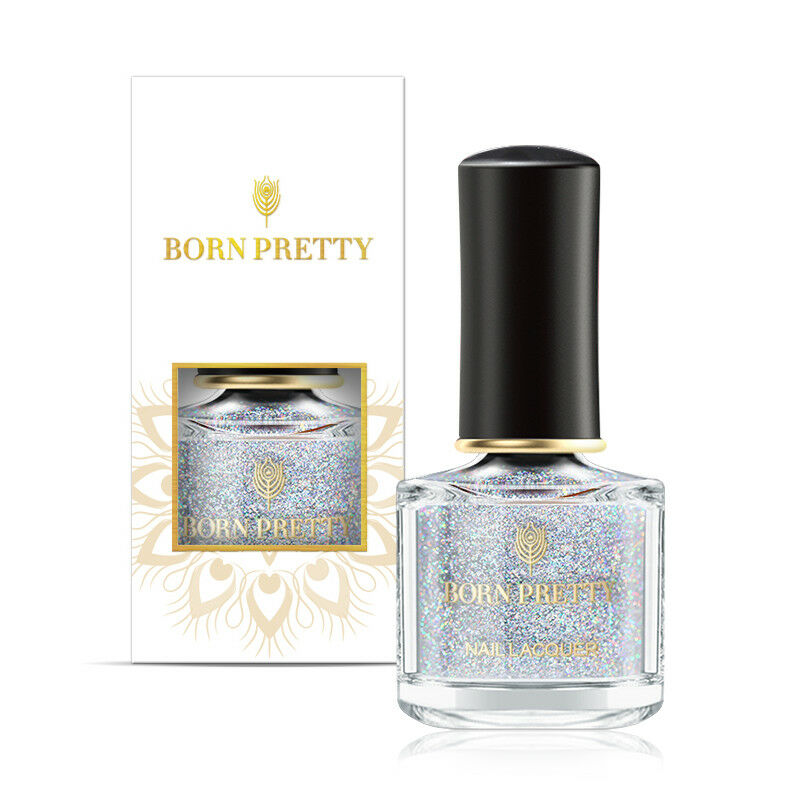 BORN PRETTY 6ml Sequined Holographic Top Coat Nail Polish Glitter Clear 10
