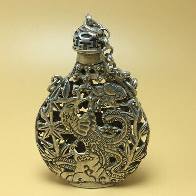 chinese Tibetan silver old copper hand carved Kirin phoenix statue snuff bottle 6