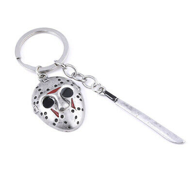 Friday the 13th Jason Voorhees Hockey Mask Kinfe Keychain Metal Keyring Jewelry 3