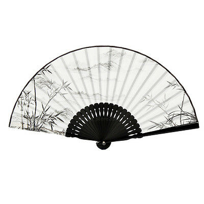 Japanese Chinese Hand Fan Folding Silk Bamboo Retro Printing Wedding Party Gift 7