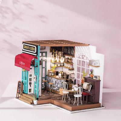 Robotime DIY Dollhouse Kit Miniature Modern Cafe with Furniture LED Gift Girls 5