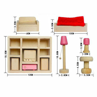 Kid's Children Wooden Furniture Dolls Family House Miniature 6 Room Set Doll Toy 4