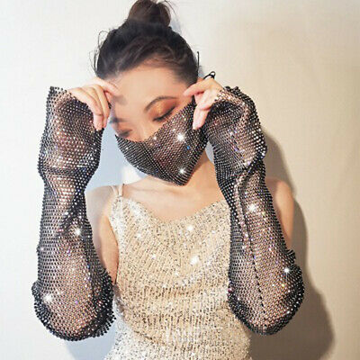 Women Rhinestone Bling Mesh Arm Sleeve Long Sunproof Hand Sleeves Arms Gloves 2