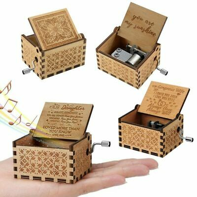 You Are My Sunshine-Wooden Engraved Music Box Gift for Mom/Dad To Daughter/Son 11