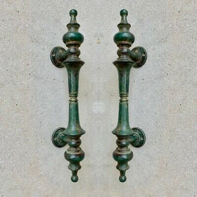 """2 large DOOR handle pull solid real 2 SPUN 100% brass antique green12 """" B 7"""