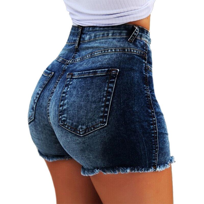 damen jeans kurz hose hotpants shorts r hrenjeans hohe. Black Bedroom Furniture Sets. Home Design Ideas