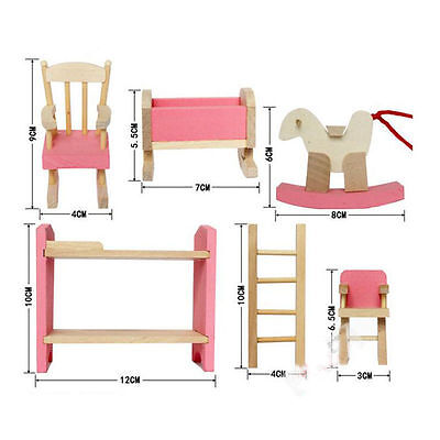 Kid's Children Wooden Furniture Dolls Family House Miniature 6 Room Set Doll Toy 5