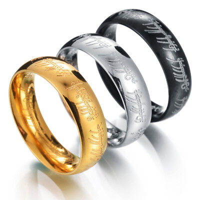 Lord of the Rings The One Ring Power Band 6mm Unisex Stainless Steel Size 6-13 3