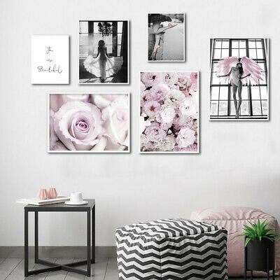 Pink Rose Flower Angel Poster Nordic Wall Art Canvas Print Decoration Picture 3