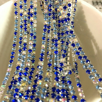 Wholesale 1-Row SS8 Cystal Rhinestone Trim Close Cup Chain Claw Jewelry Crafts 10