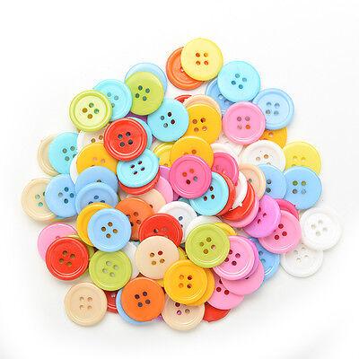 100 Stück Mischfarbe Tasten 4 Löcher Kinder DIY Handwerk 10mm 5 Größen BCDE 9