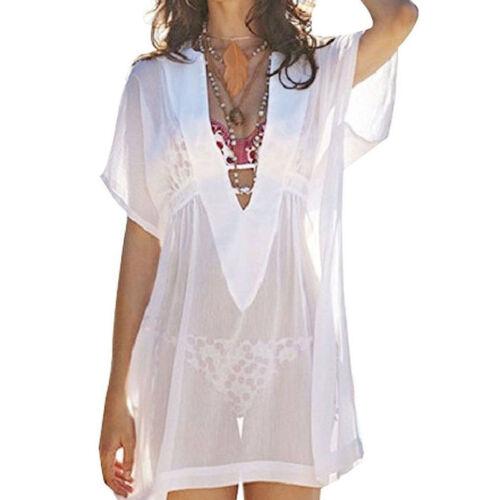 Damen Sommerkleid Boho Bikini Cover Up Strandkleid Bademode Mittlere L/änge Kaftan Bluse