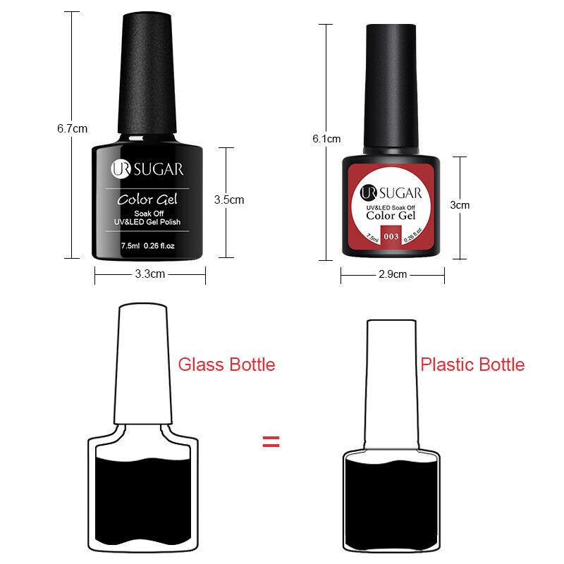 UR SUGAR 2 Bottles 7.5ml Nail UV Gel Polish Soak Off Gel Nail Polish Glitter Kit 4