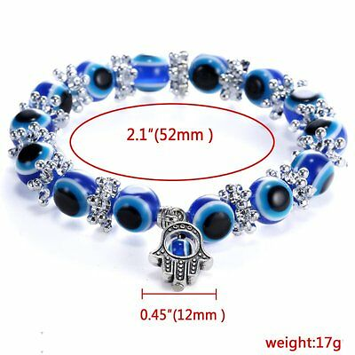 Fashion Blue Evil Eye Bead Protection Good Luck Bracelet Turkish Hand Bangle Hot 4