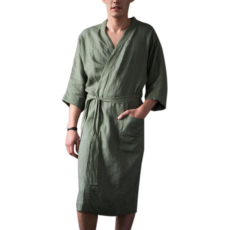 Mens Cotton Linen Pajamas Kimono Bathrobe Robe Dressing Summer Casual Loungewear 7