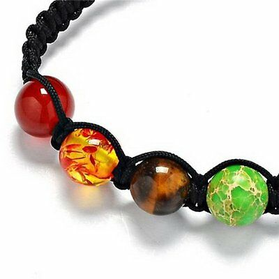 7 Chakra Healing Yoga Reiki Prayer Stones Balance Beaded Bracelet Braided Bangle