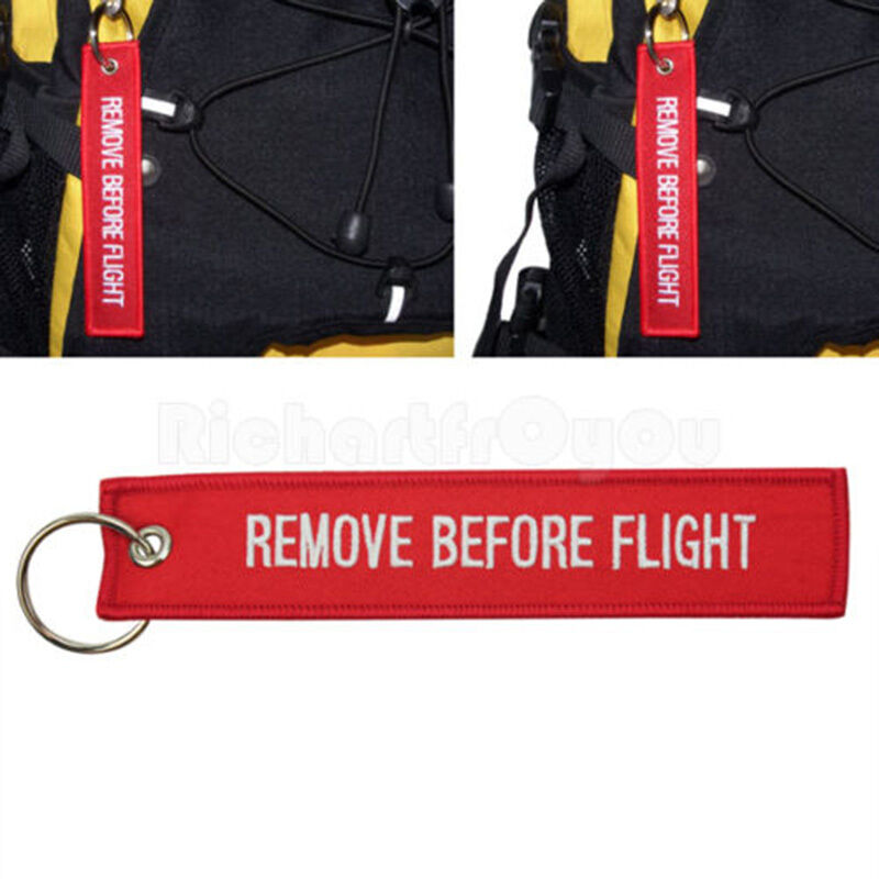 Red Goody Remove Before Flight Embroidered Canvas Luggage Tag Label Key Chain 5