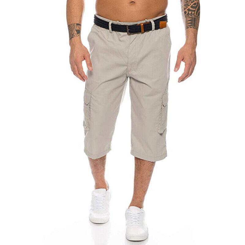 Mens 3/4 Length Cargo Coombat Pants Casual Loose Elastic Waist Shorts Trousers 5