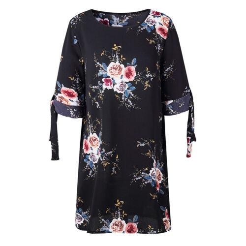 Women Floral Printed Long Tops Blouse Summer Beach Tunic Dress Plus Size 6-22 11