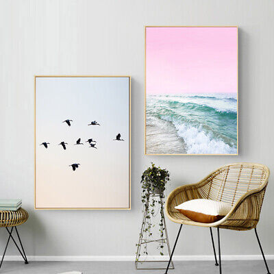 Ocean Beach Wall Art Canvas Poster Nordic Pink Sea Print Picture Home Decoration 4