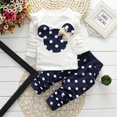 Baby clothes kids girls tops+pants Set Outfits autumn clothing dot 2