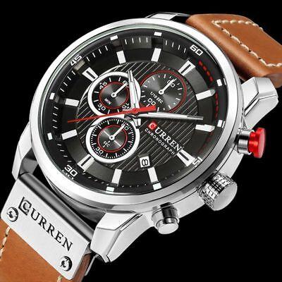 Men Waterproof Leather Aviator Army Military Chronograph Date Quartz Wrist Watch 3