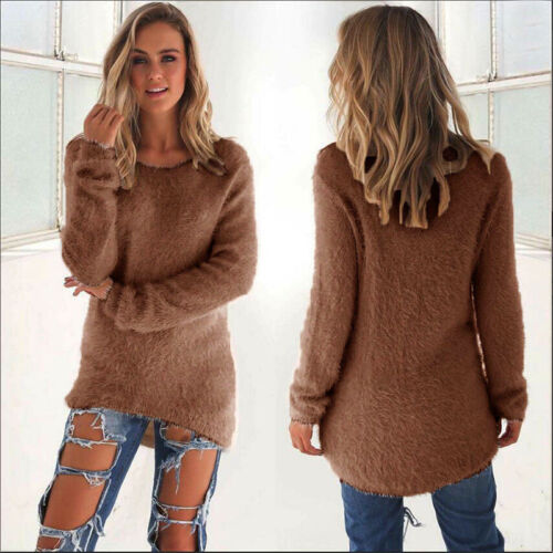 Womens Fluffy Sweatshirt Casual Sweater Long Sleeve Pullover Blouse Jumper Tops 6