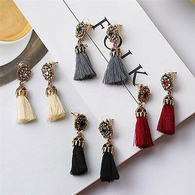 Women Thread Long Tassel Earrings Rhinestone Drop Statement Fringe Earrings 8