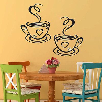 Coffee Cups Cafe Tea Wall Stickers Art Vinyl Decal Kitchen Restaurant Pub Decor 4