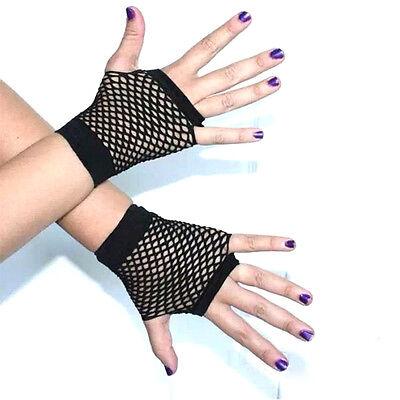 Women Short Fishnet Gloves Sexy Fingerless Gothic Party Black Mesh Mitten  DqTE 3