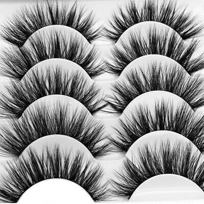 5Pair 3D Mink False Eyelashes Wispy Cross Long Thick Soft Fake Eye Lashes  UK 7