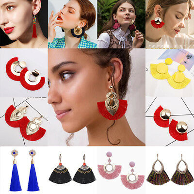 Fashion Women Bohemian Long Tassel Fringe Boho Ear Stud Dangle Earrings Jewelry 4