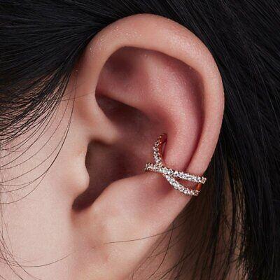 Unisex Punk Rock Ear Clip Cuff Wrap On Earrings Men Women Pearl Crystal Ear Stud 9