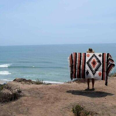 Mexican Blanket Vintage Style Tan Brown Diamond X Large Native Serape Saltillo 6