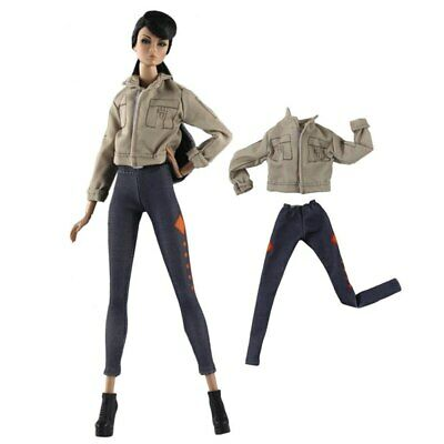1set Fashion Doll Clothes Khaki Coat & Trousers Pants For 11.5in Doll House Toy 2