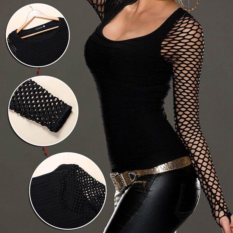 Women Slim Low Cut Long Sleeve Blouse Net Tops Punk Rock Gothic Fishnet Shirt 8