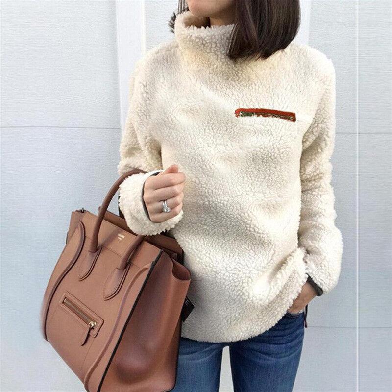 Women Fleece Fur Sweater Plus Size Long Sleeve Baggy Winter Tops Jumper Pullover 6