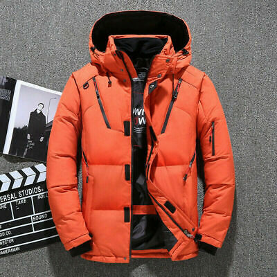 Mens Winter Warm Duck Down Jacket Ski Jacket Snow Thick Hooded Puffer Coat Parka