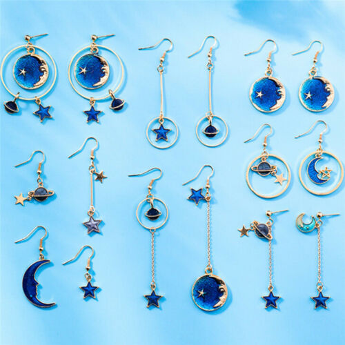 Blue Star Moon Long Drop Dangle Earrings Women Planet Ear