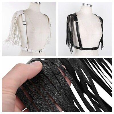 Damen Brust Harness Sexy Körper Geschirr PU Leder Body Taillegürtel mit Quasten 2