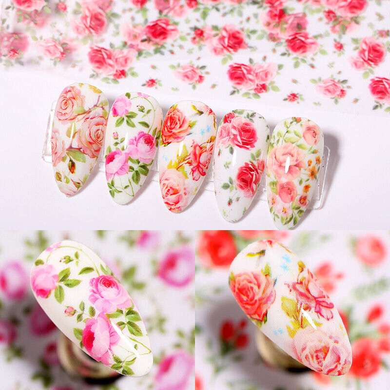 10 Sheets Nail Art Foils Stickers Flower Pattern Transfer Decals Decoration DIY 4