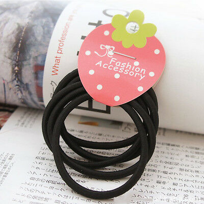 10pcs Black Colors Rope Elastics Hair Ties 4mm Thick Hairbands Girl's Hair Bands 7