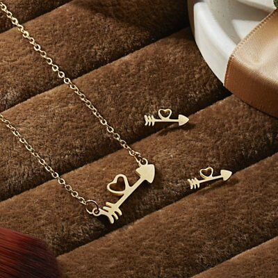 Fashion Gold Stainless Steel Jewelry Set Women Pendant Necklace Earrings Wedding 6