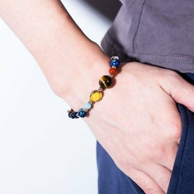 Universe Planets Bead Bangles Natural Solar System Energy Bracelet For Women Men 9