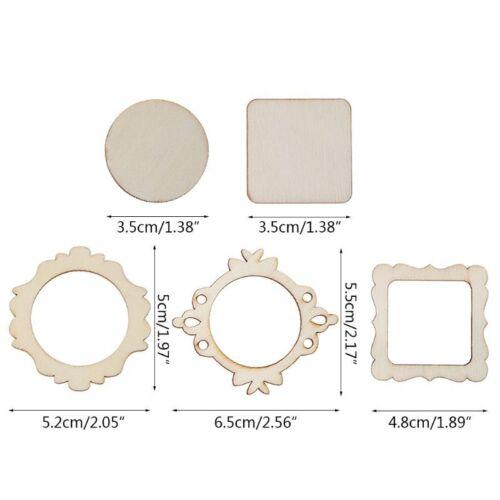 10pcs Laser Cut Wood Photo Frame Embellishment Wooden Shape Craft Wedding Decor